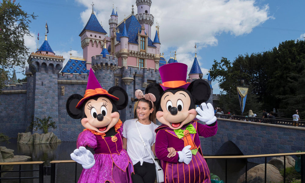 Actress Lea Michele Celebrates Halloween Time at Disneyland Resort and Shares a Treat or Two