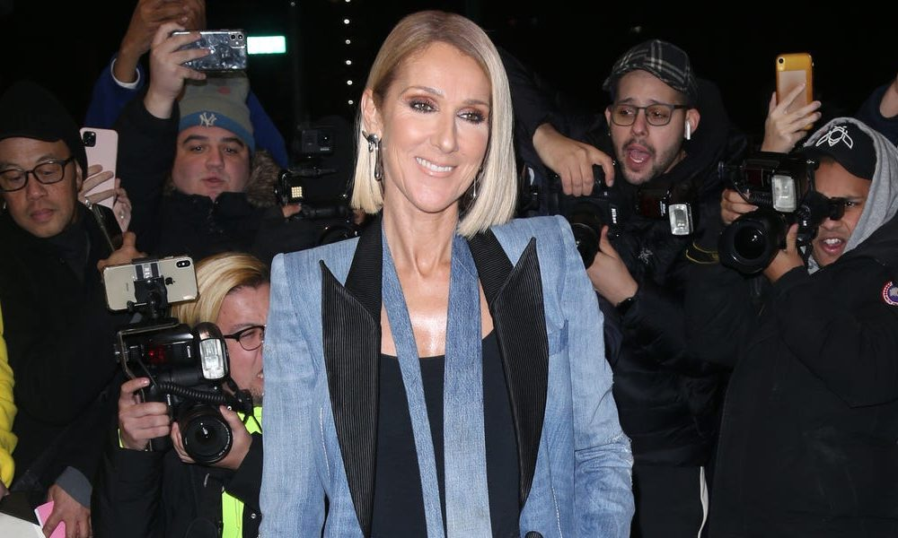 Céline Dion paired a '90s-inspired denim pantsuit with an $860 zebra-print purse