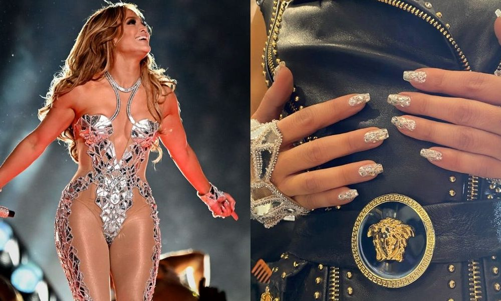 Jennifer Lopez wore a Swarovski crystal-encrusted nail cropping that matched her 'shattered glass' Beefy Bowl halftime outfit