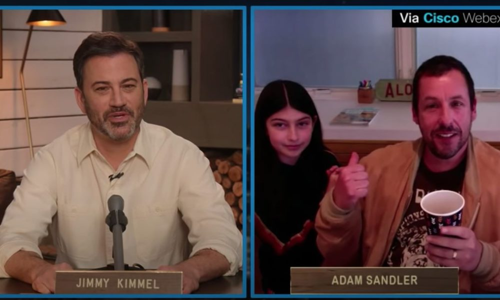 Adam Sandler's daughter adorably crashes the delivery of his interview with Jimmy Kimmel