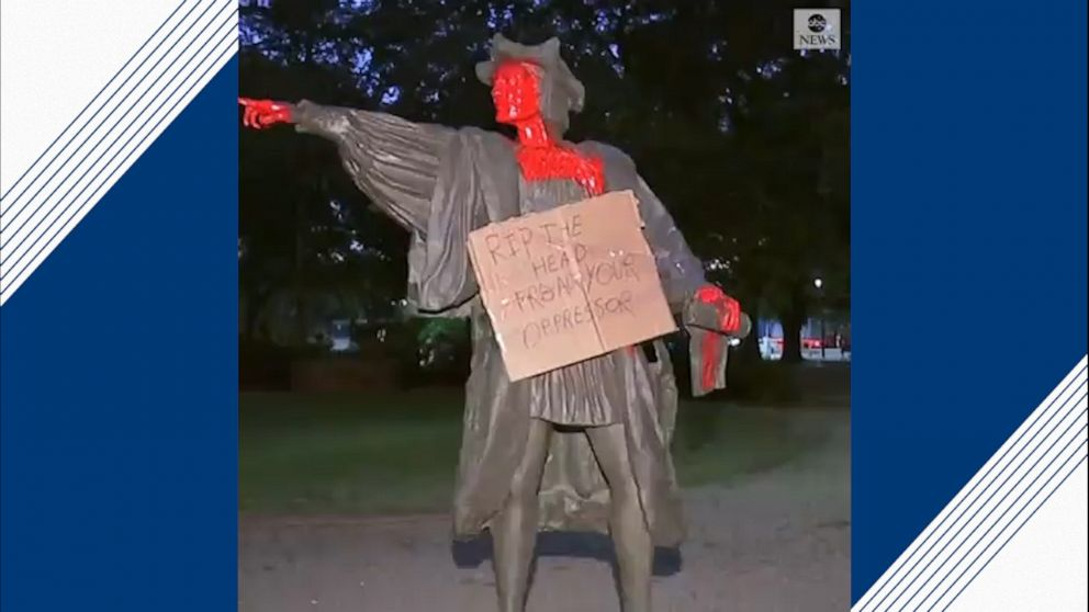 WATCH: Christopher Columbus statue in Houston's Bell Park vandalized